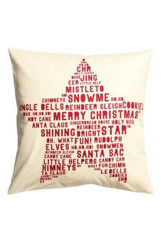 Cushion cover in woven organic cotton fabric. Printed Christmas motif at front, solid-color back, and concealed zip. Gingerbread Reindeer, Reindeer And Sleigh, H&m Christmas, Christmas Crafts, Jenna Sue, Santa's Little Helper, Rooms For Rent, Different Holidays, Christmas Wonderland