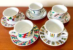 Art deco, mid-century espresso cups, tea set, tea cups, espresso set, Inker porcelain by VintageAveBoutique on Etsy