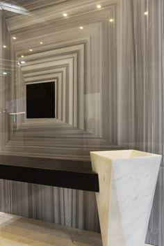Striato Olimpico Marble Decor, Lighted Bathroom Mirror, Marble, Kitchen Countertops, Kitchen Counter, Countertops, Home Decor, Mirror, Bathroom Lighting