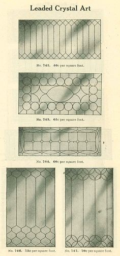 Leaded glass designs from Chicago & Riverdale Lumber catalog, 1910.
