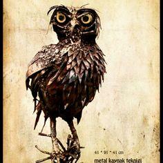 PUHU Owl metal sculpture