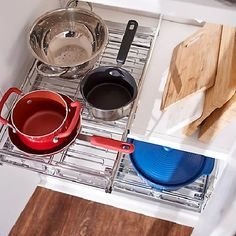 Pop-It Adjustable Sliding Cabinet Organizers $69.98 (41% off) @ QVC Diy Kitchen Cupboards, Kitchen Cabinet Organization, Cabinet Organizers, Spice Organization, Basket Organization, Container Organization, Under Bathroom Sinks, Under Cabinet Drawers, Corner Base Cabinet