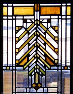 First Floor Interior - Barton House  Darwin D. Martin House Complex  118 Summit Avenue, Buffalo, N.Y.  Frank Lloyd Wright 'light screen' stained glass window