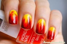 How would it feel like, if your nails were burning? Make your fancy nails look like they're on fire! Check out this gallery of amazing flaming nail designs, made by various people and find the perfect design for you! Get Nails, Fancy Nails, Pretty Nails, Hair And Nails, Red Manicure, Shellac Nails, Manicure Tools, Autumn Nails, Fire Nails