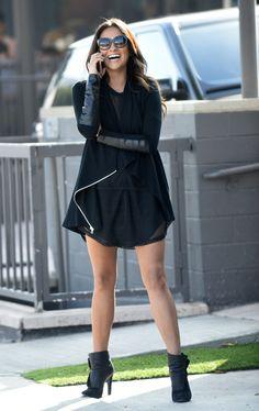 Shay Mitchell | black dress & booties