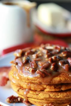 Pumpkin Pancakes with Pecan Praline Syrup   pumpkin recipes