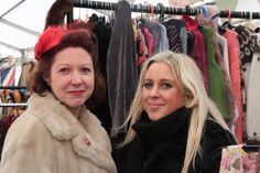 Hay Does Vintage organiser Jo Hodges (left) with 'Vintage Tramp' trader Kelli Tomasik at Hay Does Vintage, Hay-on-Wye Winter Wonderland, Vintage Christmas, Crochet, Fashion, Vintage White Christmas, Crochet Hooks, Moda, Fashion Styles, Fashion Illustrations