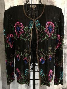 Vintage Mark & John 100% Silk Sequin Beaded  Silk Top Cardigan Jacket Medium #MarkJohnbyGopal #TopJacket