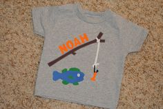 Personalized fishing fish themed birthday  shirt -- any color scheme for boys or girls. via Etsy.