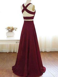 2018 Two Piece Burgundy Prom Dress Cheap Long Prom Dress #VB2134 - DemiDress.com