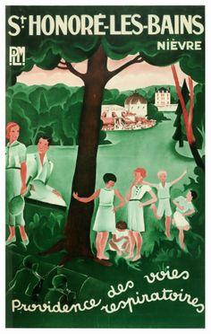 """Affiche PLM """"St Honoré-les-Bains"""", anonyme [ca 1930]. Lithographie, coll. Conseil général de la Nièvre. (Médiathèque Jean-Jaurès, Nevers) http://mediatheque.ville-nevers.fr/"""