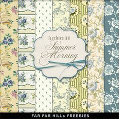 Freebies Retro Style Papers Kit - Summer Morning