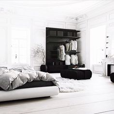 Minimal yet cosy bedroom featuring all white colour palette and an abundance of textiles @gitranegie
