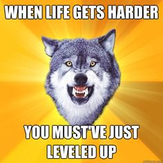 when life gets harder you mustve just leveled up - Courage Wolf
