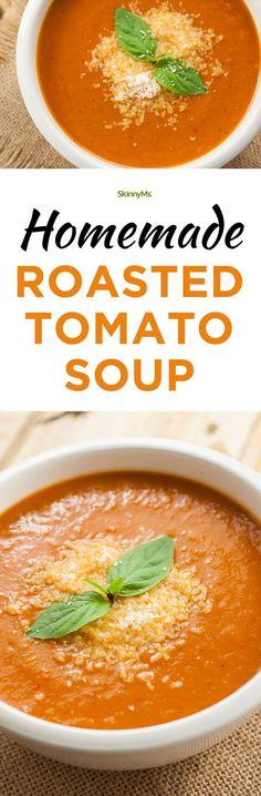 This Homemade Roasted Tomato Soup is perfect for those chilly nights. #souprecipe #tomatosoup #cleaneating