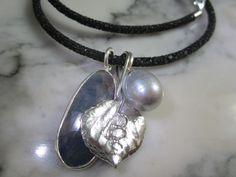 Rauchquarz - Rochenleder Collier Kette Buddha Gold Safir Perle - ein Designerstück von TOMKJustbe bei DaWanda
