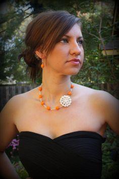 Bridesmaid Gift-Orange Necklace-Orange Bridesmaid Jewelry-Tangerine-Bridesmaid Necklace-Gifts Under 30-Dream Day Designs. $29.99, via Etsy.