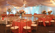 Coral and gold reception