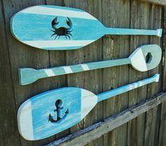 Set Of 3 Nautical Cutout Wooden Oars Lake by TheSavvyShopper1