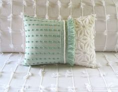 FRESH GREEN vintage chenille pillow cover by moreChenilleChateau