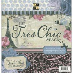 Le Tres Chic Cardstock Stack / Block de 48 Hojas con Motivos de Paris – Hobbees