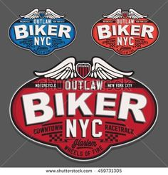 Motorcycle biker typography, t-shirt graphics, vectors
