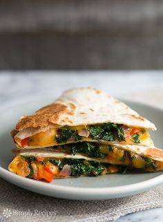 """""""Kale""""sadilla ~ Quesadilla with finely shredded kale, red bell peppers, red onions, cumin, and cheddar cheese ~ SimplyRecipes.com"""