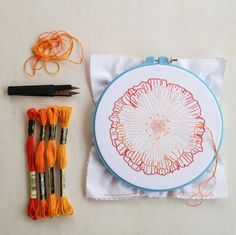 From Cozy Blue: from my original line drawing of a marigold flower blossom, this bold design is an easy and fun stitching project for advanced (or patient) beginners. Learn Embroidery, Embroidery Hoop Art, Ribbon Embroidery, Embroidery Stitches, Embroidery Patterns, Floral Embroidery, Craft Patterns, Flower Patterns, Flower Designs