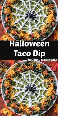 Taco Dip Taco Dip for your Halloween party! Kid friendly and easy to make! Taco Dip for your Halloween party! Kid friendly and easy to make! Halloween Taco Dip, Bolo Halloween, Pasteles Halloween, Halloween Party Appetizers, Looks Halloween, Halloween Dinner, Halloween Food For Party, Halloween Desserts, Halloween Puppy