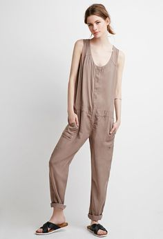 FOREVER 21 contemporary sleeveless snap-button jumpsuit