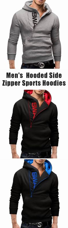 Men's Fall&Winter Side Zipper Hoodies: Casual Sports