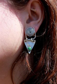 447e6534b Sterling Silver and Turquoise Earrings - Abstract Jewelry - Egyptian -  Geometric - Etruscan - December Birthstone - Spiral - Sherry Tinsman