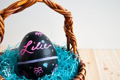 Turn boring decorative eggs into a jumbo chalkboard zipper Easter eggs to fill with clothes or toys. A simple and fun DIY for the perfect Easter basket!   Housefulofhandmade.com