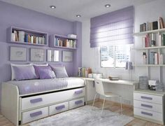Adorable Teen Bedroom Design Idea for Girl with Soft Purple-White Wall Paint Color and Trundle Bed and Simple Study Desk and Shelving Unit also Wall Bookshelves and White Shag Rug and Wood Floor
