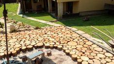Cordwood flooring moves outdoors in Slovakia Martin Tyciak Slovokia fruit wood. Wooden Flooring, Floors, Flooring Types, Wood Patio, Diy Patio, Woodworking Wood, Woodworking Projects Plans, Outdoor Flooring Options, Gardens