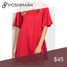 Festive Red Dress with Flutter Sleeves Gorgeous red dress with flutter sleeves! Perfect for those upcoming holiday parties! Swanky Coconut Dresses