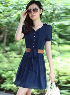 Latest Elegant Slim V Neck Short Sleeve Chiffon Dress, Slim