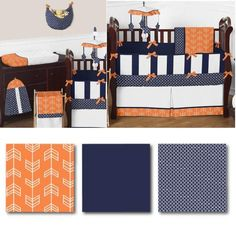 Arrow Orange and Navy Crib Bedding Collection - Choose this crib bedding set for your little one, and create a cozy haven for baby and a designer look you'll love. The 9 piece set offers you a great bedding collection, and with lots of coordinating accessories. Includes: Comforter, Bumper, Fitted Sheet, Crib Skirt, Diaper Stacker, Toy Bag, Decorative Pillow, 2 Window Valance. Shop today for your little one!
