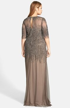 Adrianna Papell Illusion Yoke Long Beaded Gown (Plus Size) | Nordstrom