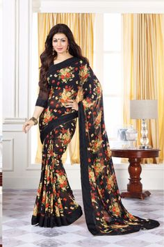 Cool Ayesha Takia Black Georgette Saree with Georgette Blouse.   ₹ 2,000.46 Ab india karega shopping