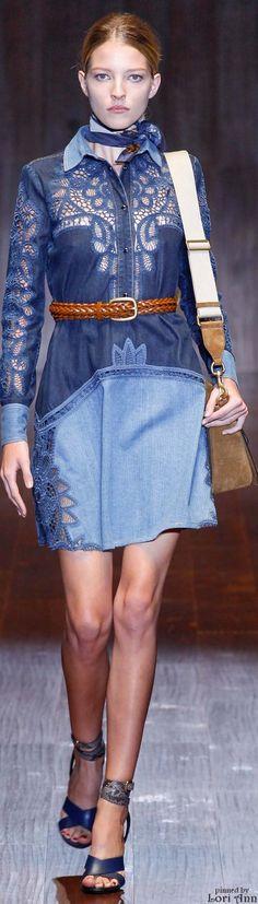 Denim cutouts, laser cut, lace inserts, patchwork dress. Gucci Spring 2015 RTW
