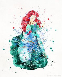 Ariel Print Little Mermaid Princess Ariel Disney Princess Baby Room Art Nursery Watercolor Painting Type 5 Christmas Gift - Wallpaper Quotes Disney Princess Babies, Disney Babys, Ariel Disney, Mermaid Princess, Cute Disney, Disney Art, Disney Songs, Baby Room Art, Nursery Art