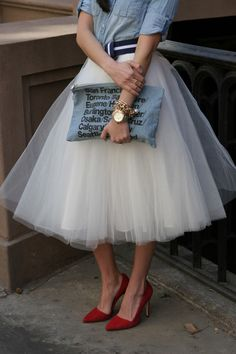 MariaOnPoint  Modern Ballerina featuring @J.Crew chambray shirt + earrings, #space46boutique tulle skirt, @alice + olivia Dina pumps, @American Apparel clutch