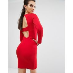 Kendall + Kylie Banded Back Long Sleeve Dress ($216) ❤ liked on Polyvore featuring dresses, red, red body con dress, red bodycon dress, long sleeve dress, long sleeve bodycon dress and long sleeve lace dress