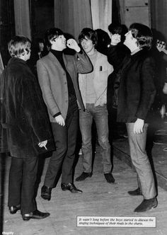 The Beatles backstage during rehearsals for Another Beatles Christmas Show. Scan from Beatles Book Monthly No. 164.