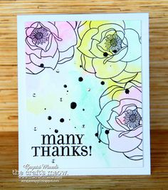 Many Thanks - Another Watercolour Card