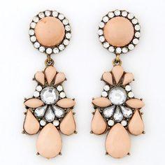 Rhinestone Embedded Jointed Floral Style Dangling Pendants Resin Ear Studs - Light Orange
