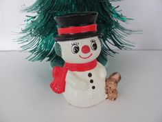 Vintage Christmas Snowman 1970's Paper Mache by ThirstyOwlVintage