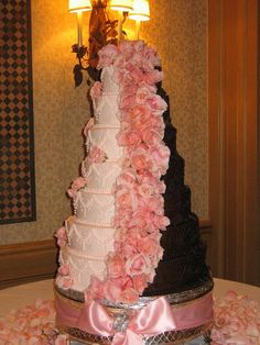 two colour wedding cake - not flowers, and in white and milk chocolate, but basic idea