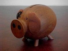 Vintage Danish Teak Pig - PIGGY BANK - Money Box - H+F Denmark Bojesen Era